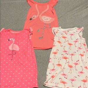 3 flamingo nightgowns size 3t
